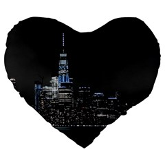 New York Skyline New York City Large 19  Premium Heart Shape Cushions by Celenk