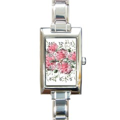 Carnations Flowers Nature Garden Rectangle Italian Charm Watch by Celenk