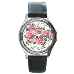 Carnations Flowers Nature Garden Round Metal Watch by Celenk