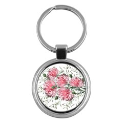 Carnations Flowers Nature Garden Key Chains (round)  by Celenk