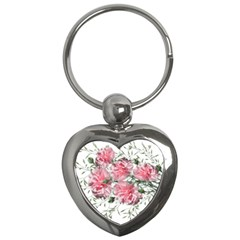 Carnations Flowers Nature Garden Key Chains (heart)  by Celenk