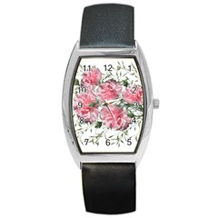 Carnations Flowers Nature Garden Barrel Style Metal Watch by Celenk