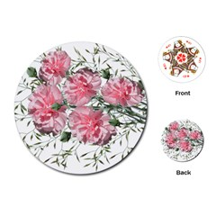Carnations Flowers Nature Garden Playing Cards (round) by Celenk