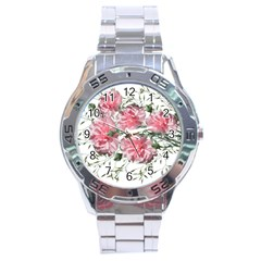Carnations Flowers Nature Garden Stainless Steel Analogue Watch by Celenk