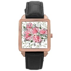 Carnations Flowers Nature Garden Rose Gold Leather Watch  by Celenk