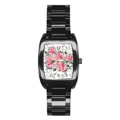 Carnations Flowers Nature Garden Stainless Steel Barrel Watch by Celenk