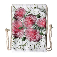Carnations Flowers Nature Garden Drawstring Bag (large) by Celenk