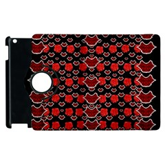 Red Lips And Roses Just For Love Apple Ipad 2 Flip 360 Case by pepitasart