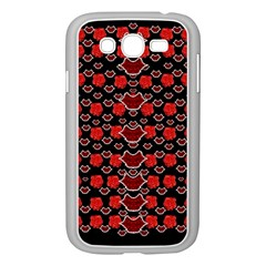 Red Lips And Roses Just For Love Samsung Galaxy Grand Duos I9082 Case (white) by pepitasart