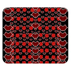 Red Lips And Roses Just For Love Double Sided Flano Blanket (small)  by pepitasart