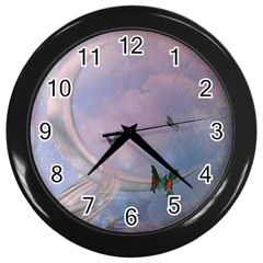 The Wonderful Moon With Butterflies Wall Clock (black) by FantasyWorld7