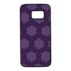 Hexagon Grid Geometric Hexagonal Samsung Galaxy S7 Black Seamless Case by Celenk