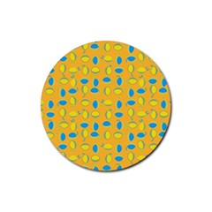 Lemons Ongoing Pattern Texture Rubber Coaster (round)  by Celenk