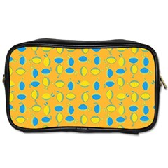 Lemons Ongoing Pattern Texture Toiletries Bag (two Sides) by Celenk