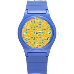 Lemons Ongoing Pattern Texture Round Plastic Sport Watch (s) by Celenk