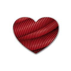 Tube Plastic Red Rip Rubber Coaster (heart)  by Celenk