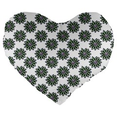 Graphic Pattern Flowers Large 19  Premium Flano Heart Shape Cushions by Celenk