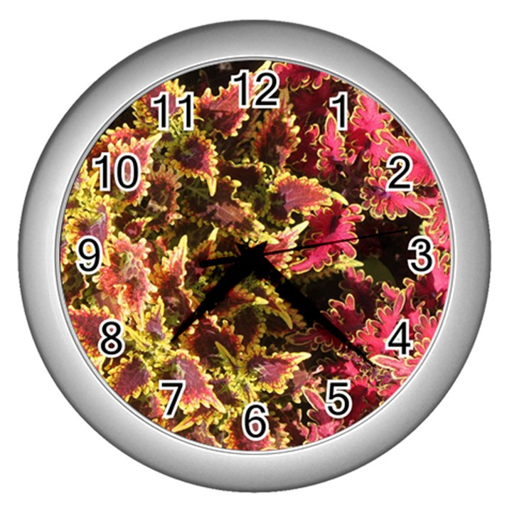 Plant Leaves Foliage Pattern Wall Clock (Silver)