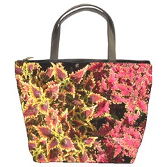 Plant Leaves Foliage Pattern Bucket Bag by Celenk