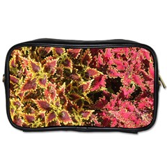 Plant Leaves Foliage Pattern Toiletries Bag (two Sides) by Celenk