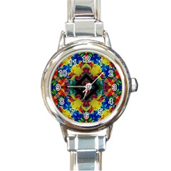 Kaleidoscope Art Pattern Ornament Round Italian Charm Watch by Celenk