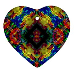 Kaleidoscope Art Pattern Ornament Heart Ornament (two Sides) by Celenk