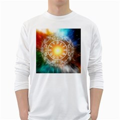 Universe Galaxy Sun Clock Time Long Sleeve T-shirt by Celenk