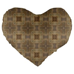 Abstract Wood Design Floor Texture Large 19  Premium Flano Heart Shape Cushions by Celenk