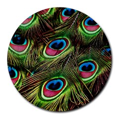 Peacock Feathers Color Plumage Round Mousepads by Celenk
