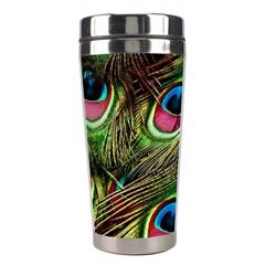 Peacock Feathers Color Plumage Stainless Steel Travel Tumblers by Celenk