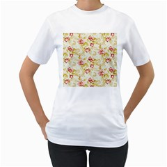 Background Pattern Flower Spring Women s T Shirt (white) (two Sided)