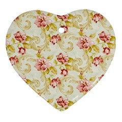 Background Pattern Flower Spring Heart Ornament (two Sides) by Celenk