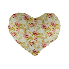 Background Pattern Flower Spring Standard 16  Premium Flano Heart Shape Cushions by Celenk