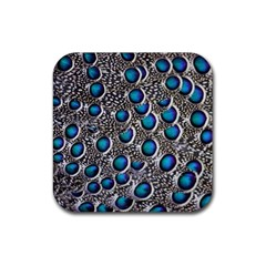 Peacock Pattern Close Up Plumage Rubber Coaster (square)  by Celenk