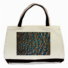 Peacock Pattern Close Up Plumage Basic Tote Bag by Celenk