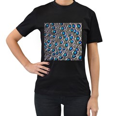 Peacock Pattern Close Up Plumage Women s T Shirt (black)