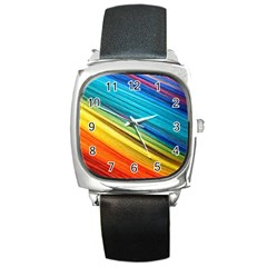 Rainbow Square Metal Watch by NSGLOBALDESIGNS2