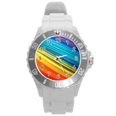 Rainbow Round Plastic Sport Watch (l) by NSGLOBALDESIGNS2