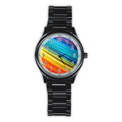 Rainbow Stainless Steel Round Watch by NSGLOBALDESIGNS2
