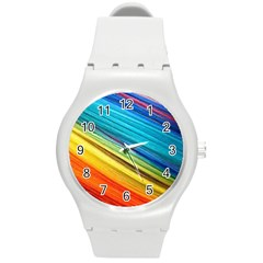 Rainbow Round Plastic Sport Watch (m) by NSGLOBALDESIGNS2