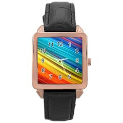 Rainbow Rose Gold Leather Watch  by NSGLOBALDESIGNS2