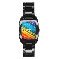 Rainbow Stainless Steel Barrel Watch by NSGLOBALDESIGNS2