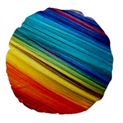 Rainbow Large 18  Premium Flano Round Cushions by NSGLOBALDESIGNS2