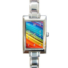 Rainbow Rectangle Italian Charm Watch by NSGLOBALDESIGNS2