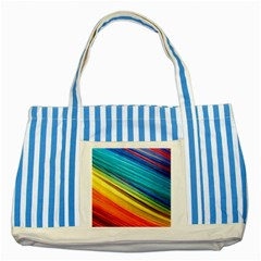 Rainbow Striped Blue Tote Bag by NSGLOBALDESIGNS2