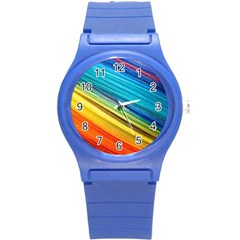 Rainbow Round Plastic Sport Watch (s) by NSGLOBALDESIGNS2