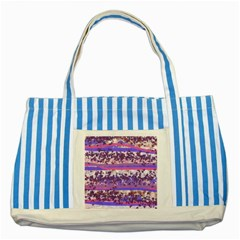 Abstract Pastel Pink Blue Striped Blue Tote Bag by snowwhitegirl