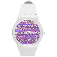 Abstract Pastel Pink Blue Round Plastic Sport Watch (m) by snowwhitegirl