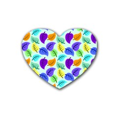 Colorful Leaves Blue Heart Coaster (4 Pack)  by snowwhitegirl