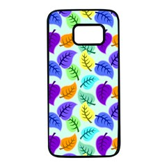 Colorful Leaves Blue Samsung Galaxy S7 Black Seamless Case by snowwhitegirl
